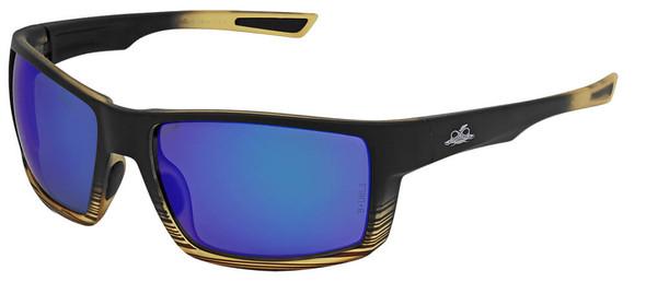 Bullhead Sawfish Safety Glasses with Tortoise Frame and Polarized Blue Mirror Anti-Fog Lens BH2679PFT