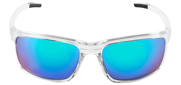 Bullhead Pompano Safety Glasses with Clear Frame and Green Mirror Anti-Fog Lens BH27116AF - Front View
