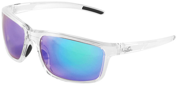 Bullhead Pompano Safety Glasses with Clear Frame and Green Mirror Anti-Fog Lens BH27116AF