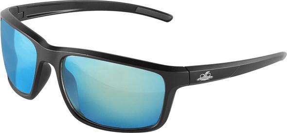 Bullhead Pompano Safety Glasses with Black Frame and Polarized Blue Mirror Anti-Fog Lens BH2769PFT