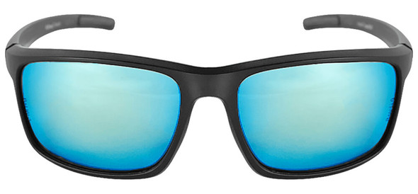 Bullhead Pompano Safety Glasses with Black Frame and Polarized Blue Mirror Anti-Fog Lens BH2769PFT - Front View