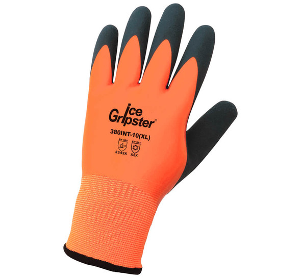 Global Glove 380INT Ice Gripster High-Visibility Water-Resistant Gloves GG-380INT - Backside View