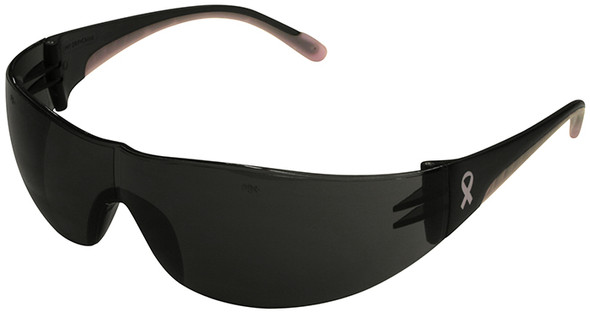 Bouton Eva Women's Safety Glasses with Pink Temple Trim and Gray Lens