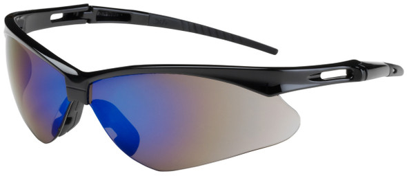 Bouton Anser Safety Glasses with Black Frame and Blue Mirror Lens 250-AN-10115