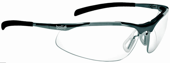 Bolle Contour Metal Safety Glasses with Silver Frame and Clear Anti-Scratch and Anti-Fog Lenses 40049