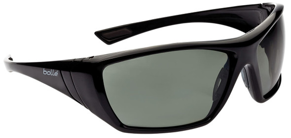 Bolle Hustler Safety Sunglasses with Shiny Black Frame and Smoke Anti-Scratch and Anti-Fog Lenses