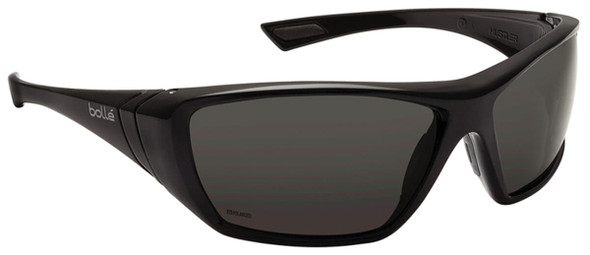 Bolle Hustler Safety Sunglasses with Shiny Black Frame and Polarized Smoke Anti-Scratch and Anti-Fog Lenses