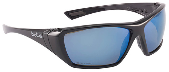Bolle Hustler Safety Sunglasses with Shiny Black Frame and Polarized Blue Mirror Anti-Scratch and Anti-Fog Lenses