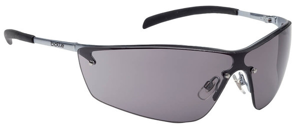 Bolle Silium Safety Glasses with Silver Frame and Smoke Anti-Scratch and Anti-Fog Lens