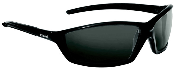 Bolle Solis Safety Glasses with Shiny Black Frame and Polarized Smoke Anti-Scratch Lenses