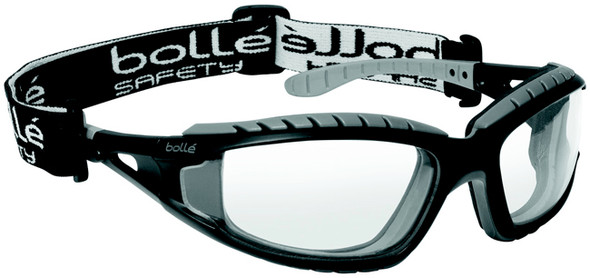 Bolle Tracker Safety Glasses with Black Frame and Clear Anti-Scratch and Anti-Fog Lenses 40085