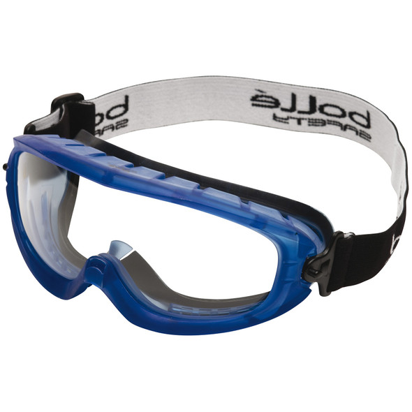 Bolle 40092 Atom Safety Goggle with Blue Frame and Clear Anti-Scratch and Anti-Fog Lens
