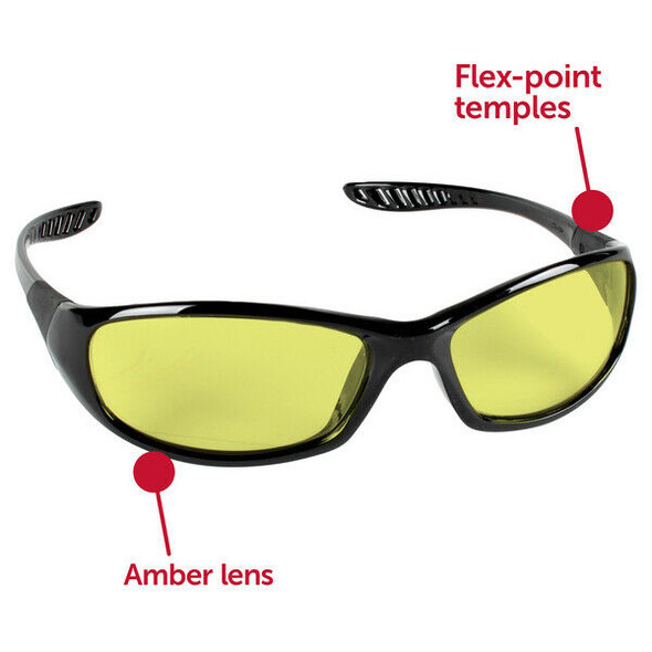 KleenGuard Hellraiser Safety Glasses with Amber Lens 20541 Features