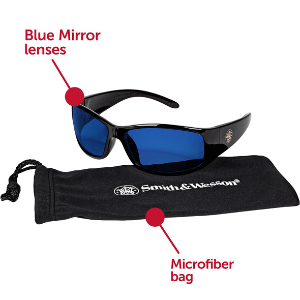 Smith & Wesson Elite Safety Glasses with Blue Mirror Lens 21307 Key Features
