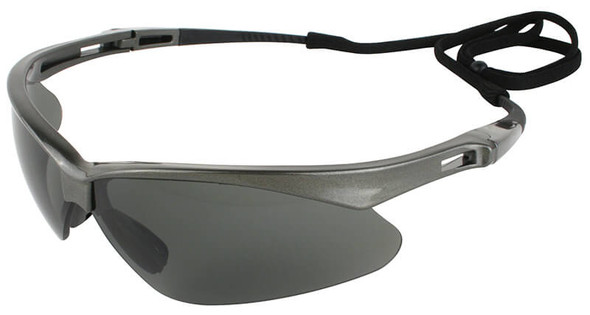 KleenGuard Nemesis Polarized Safety Glasses with Gunmetal Frame and Smoke Lens - Left Side View