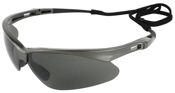 KleenGuard Nemesis Polarized Safety Glasses with Gunmetal Frame and Smoke Lens - Left Side View