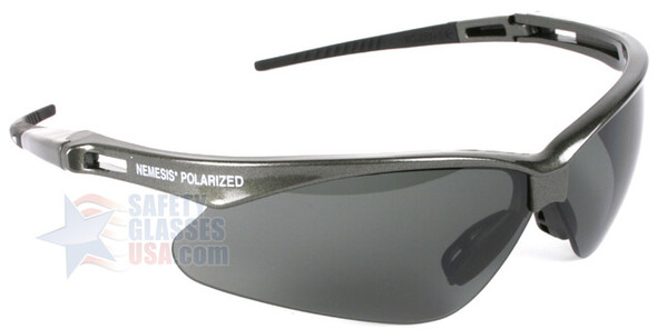 KleenGuard Nemesis Polarized Safety Glasses with Gunmetal Frame and Smoke Lens - Right Side View