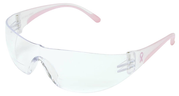 Bouton Eva Women's Bifocal Safety Glasses with Pink Temple Trim and Clear Anti-Fog Lens