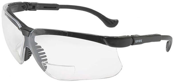 Uvex Genesis Readers Safety Glasses Black Frame Clear Ultra-Dura Lens