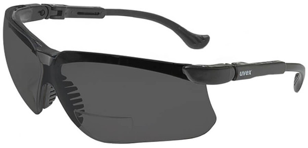 Uvex Genesis Bifocal Safety Glasses with Black Frame and Gray Ultra-Dura Lens