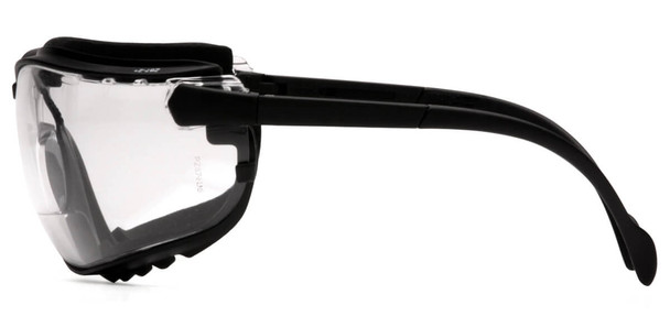 Pyramex V2G Bifocal Safety Glasses/Goggles with Black Frame and Clear Lens - Side