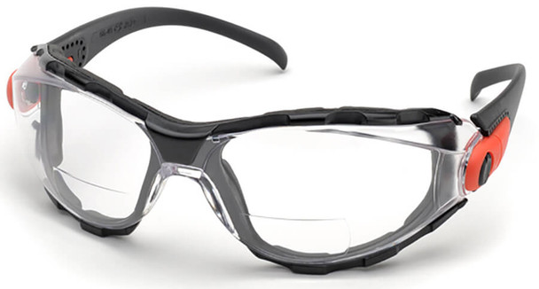 Elvex Go-Specs Bifocal Safety Glasses with Black Frame, Foam Seal and Clear Anti-Fog Lens RX-GG-40C-AF