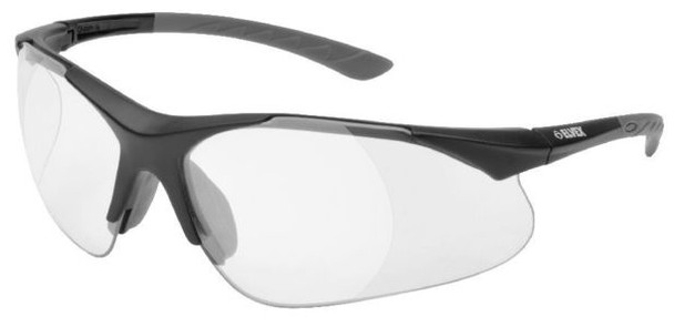Elvex Rx-500C Safety Glasses with Black Frame and Clear Lens with Full Magnifier