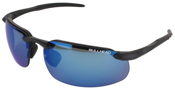 Bullhead Swordfish Safety Glasses with Matte Black Frame and Polarized Precision Blue Mirror Lens BH106129