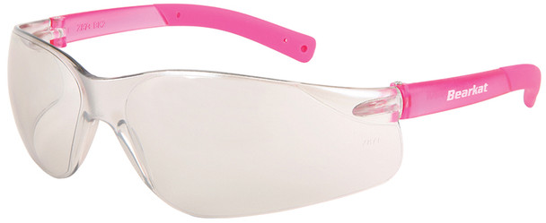 Crews Bearkat Small Safety Glasses with Pink Temples and Indoor/Outdoor Lenses BK229