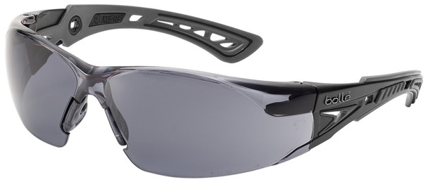 Bolle Rush Plus Safety Glasses with Black/Gray Temples and Smoke Lens with Platinum Anti-Fog 40208