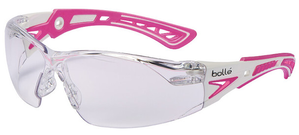 Bolle Rush Plus Small Safety Glasses with White/Pink Temples and Clear Anti-Fog Lens 40254