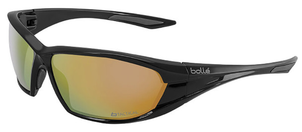 Bolle Ranger Tactical Safety Glasses with Shiny Black Frame and Red Flash Anti-Scratch Lens