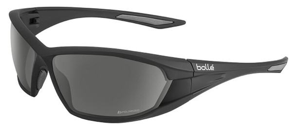 Bolle Ranger Tactical Safety Glasses with Shiny Black Frame and Polarized Smoke Anti-Fog Lens