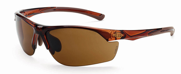 Crossfire AR3 Safety Glasses with Crystal Brown Frame and Brown Lens