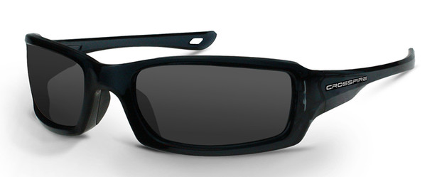 Crossfire M6A Safety Glasses with Crystal Black Frame and Smoke Lens