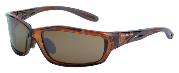Crossfire Infinity Safety Glasses with Crystal Brown Frame and HD Brown Mirror Lens