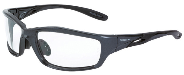 Crossfire Infinity Safety Glasses with Shiny Pearl Gray Frame and Clear Lens