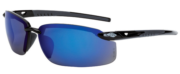 Crossfire ES5 Safety Glasses with Shiny Black Frame and Blue Mirror Lens