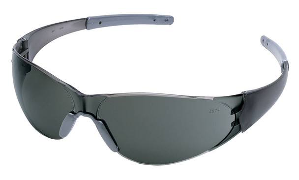 Crews Checkmate 2 Safety Glasses with Smoke Temples and Gray Anti-Fog Lens