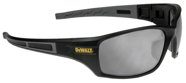 DeWalt Auger Safety Glasses with Black/Gray Frame and Silver Mirror Lenses