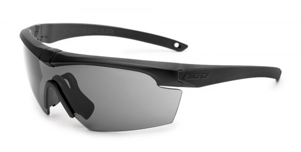 ESS Crosshair Safety Glasses with Black Frame and Gray Lens