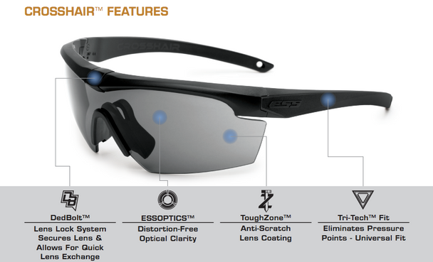 ESS Crosshair Safety Glasses Key Features