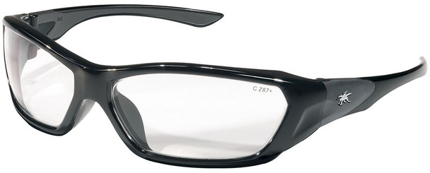 Crews ForceFlex Safety Glasses with Black Frame and Clear Lens FF120