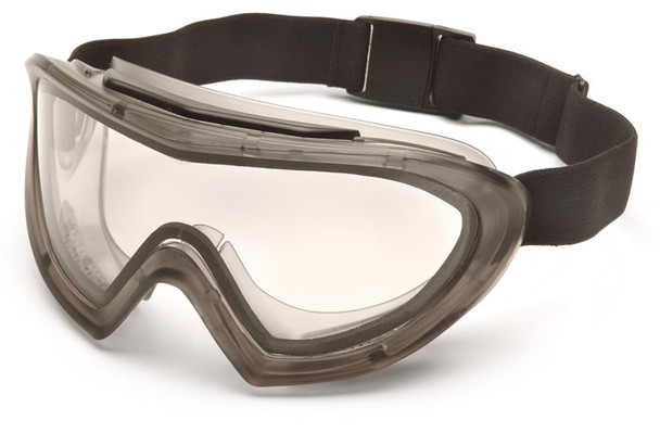 Pyramex Capstone Direct/Indirect Vent Safety Goggles with Gray Frame and Dual Clear Anti-Fog Lens G504DT