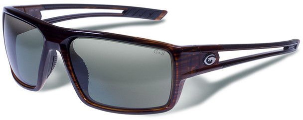 Gargoyles Rampart Safety Sunglasses with Dark Brown Crystal with Brown Stripes Frame and Green Polarized Lens