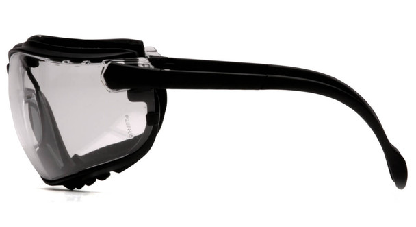 Pyramex V2G Safety Glasses/Goggles with Black Frame and Clear Anti-Fog Lens - Side