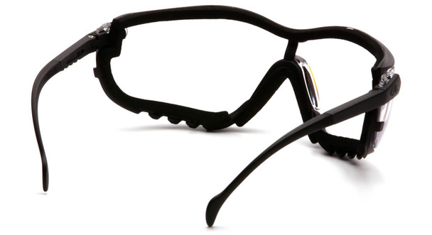 Pyramex V2G Safety Glasses/Goggles with Black Frame and Clear Anti-Fog Lens - Back