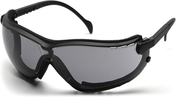 Pyramex V2G Safety Glasses/Goggles With Temple Arms Installed