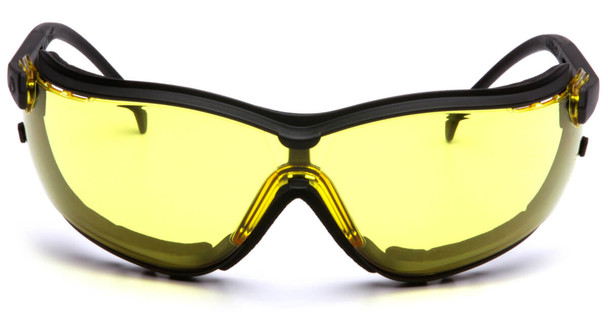 Pyramex V2G Safety Glasses/Goggles with Black Frame and Amber Lens - Front