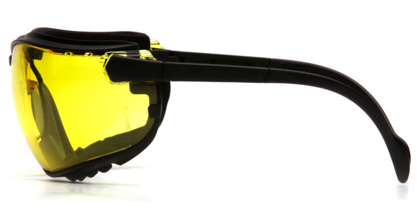 Pyramex V2G Safety Glasses/Goggles with Black Frame and Amber Lens - Side